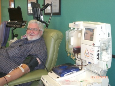 Ken donates red blood cells